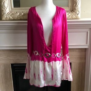 Tie-Dyed Blousy Top with Ruffled Cuffs - 100% Silk